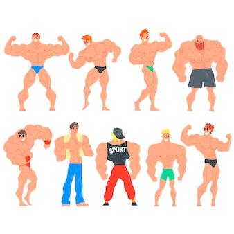 Muscly bodybuilders lustige charaktere set