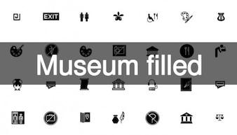 Museum gefüllt symbole in schwarz