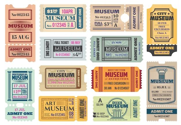 Museum retro-tickets, gibt vorlagen zu. gutscheine ausstellungszugang mit datum, uhrzeit, sitz- und zeilennummer, preis und trennlinie. weinlesepapierkarten eingestellt für kunst, antiquitätenstadtmuseumseintrag