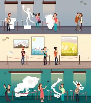 Museumsgalerie mit kunstbildern, ausstellung und kinderfahnen eingestellt