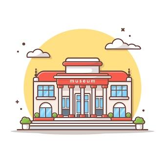 Museumsgebäude-vektor-ikonen-illustration. gebäude-und markstein-ikonen-konzept-weiß lokalisiert