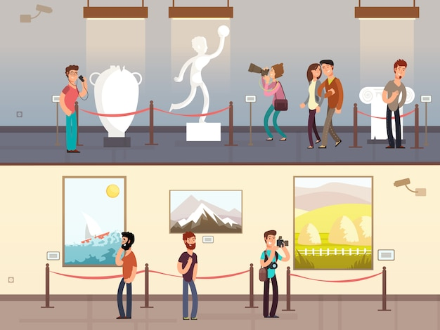 Museumsinnenraum mit den besuchern, die ausstellungen betrachten, vector illustration