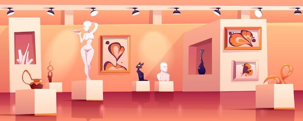 Museumsinnenraum mit modernen kunstwerken