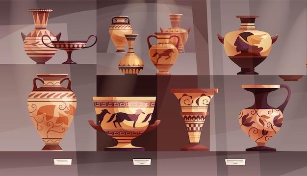 Museumsinterieur mit antiken griechischen vasen, alten traditionellen tonkrügen oder töpfen für weine