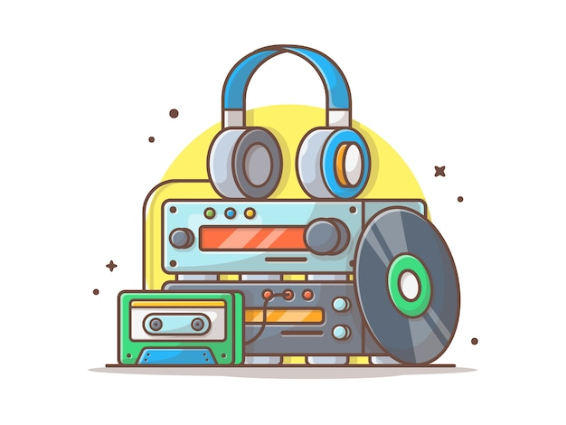 Music engine spund player mit vinyl, sassette und kopfhörer. sound system weiß isoliert