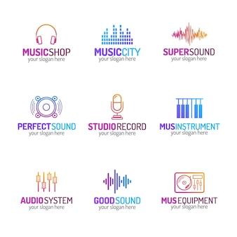 Music shop logo set mit verschiedenen stil isoliert.