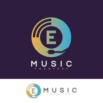 Musik anfangsbuchstabe e logo design