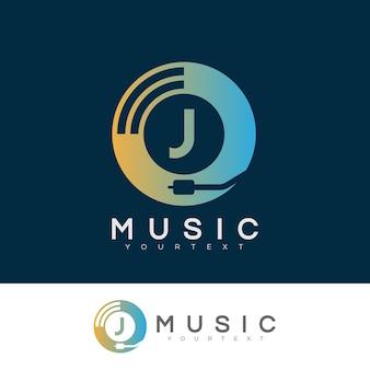 Musik anfangsbuchstabe j logo design