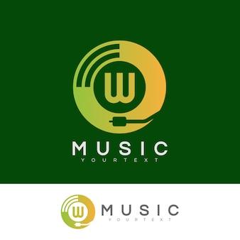 Musik anfangsbuchstabe w logo design