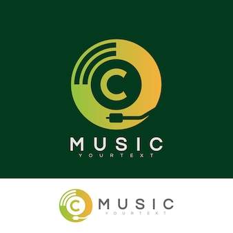 Musik anfangsbuchstaben c logo design