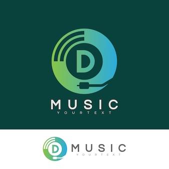 Musik anfangsbuchstaben d logo design