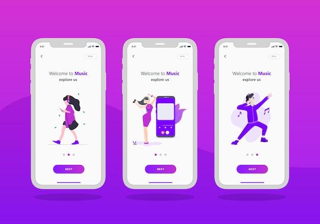 Musik-app-set des onboarding-bildschirms für mobile benutzeroberfläche