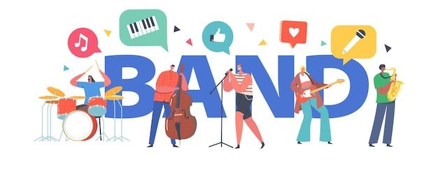 Musik-band-konzept. künstler-charaktere mit musikinstrumenten, die rock-song, gitarre, kontrabass und saxophon-spieler singen, begleiten, rock-konzert-poster, banner oder flyer. cartoon-menschen-vektor-illustration