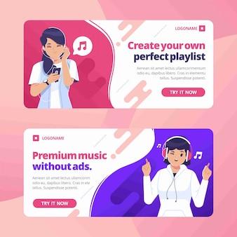 Musik banner flache design-vorlage