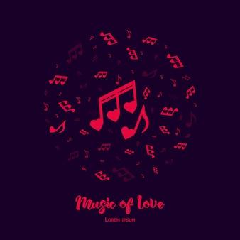 Musik der liebe illustration zum valentinstag