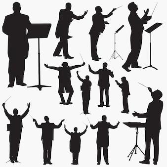 Musik dirigent silhouetten