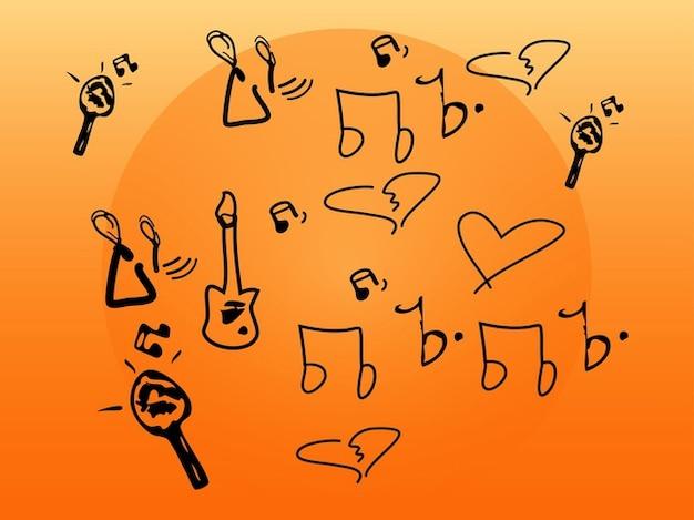 Musik doodles zusammensetzung vektor pack