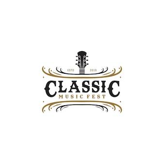 Musik fest vintage-logo-stil