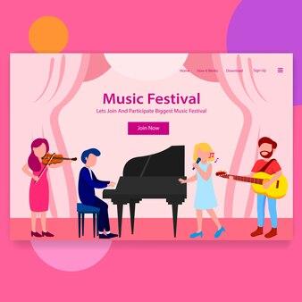 Musik festival landing page illustration