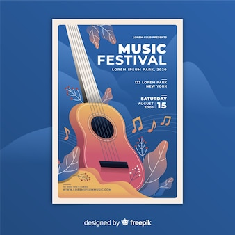 Musik festival plakat vorlage mit farbverlauf