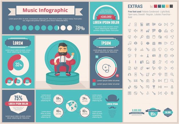 Musik flaches design infographik vorlage
