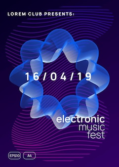 Musik-flyer. dynamische verlaufsform und -linie. cover-layout für kommerzielle diskotheken. neon-musik-flyer. electro-dance-dj