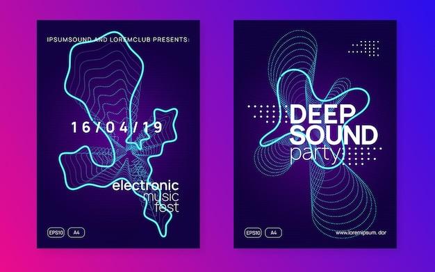Musik-flyer. dynamische verlaufsform und -linie. geometrisches show-cover-set. neon-musik-flyer. electro-dance-dj. elektronisches soundfest. techno-trance-party. plakat zur vereinsveranstaltung.