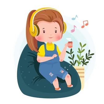 Musik hören relaxing cute character concept illustration bleiben sie zu hause