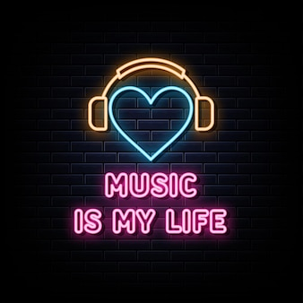 Musik ist mein leben neon signs vector design template neon style