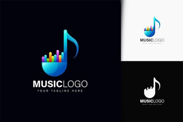 Musik-logo-design mit farbverlauf