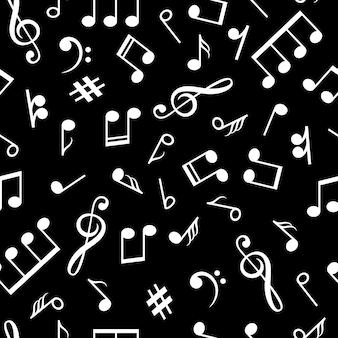 Musik merkt schwarzes muster. musikalische zeichen im alten stil hintergrund für vintage lp entspannen vektor-illustration