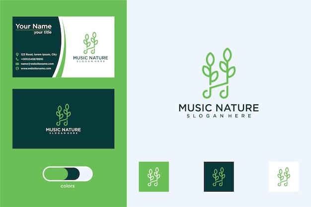 Musik mit elegantem blatt-logo-design und visitenkarte