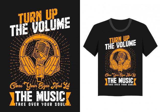 Musik mit kopfhörer und mikrofon für t-shirt