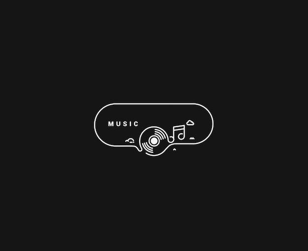 Musik-noten-banner-design, flat line-kunst-vektor-illustration.