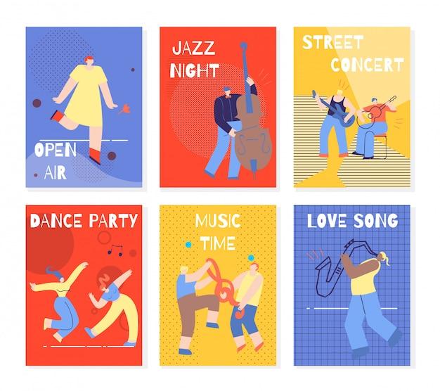 Musik-party, die leute-bunten karten-satz durchführt