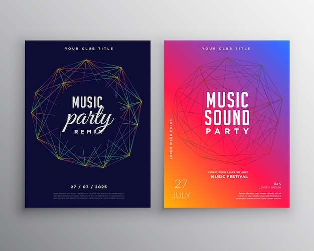 Musik-party-flyer-template-design mit digitalen linien mesh