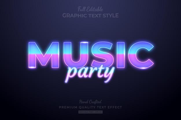 Musik party gradient editierbare premium-texteffekt-schriftart
