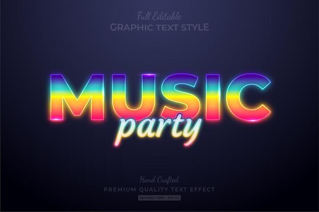 Musik party gradient neon bearbeitbarer texteffekt-schriftstil