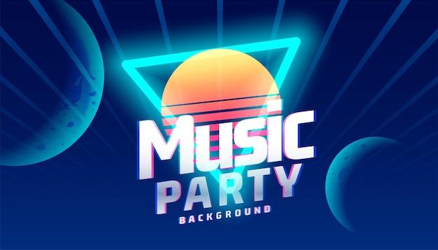 Musik-party-hintergrund im neon-stil