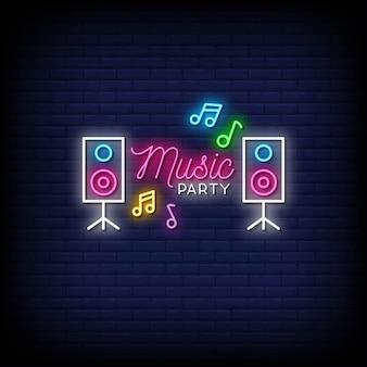 Musik party neon zeichen stil text vektor