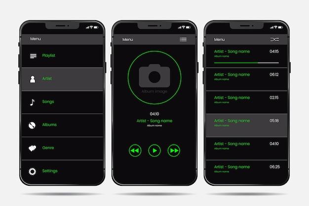 Musik-player-app-vorlagenoberfläche