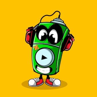 Musik-player-doodle-charakter-vektor-illustration