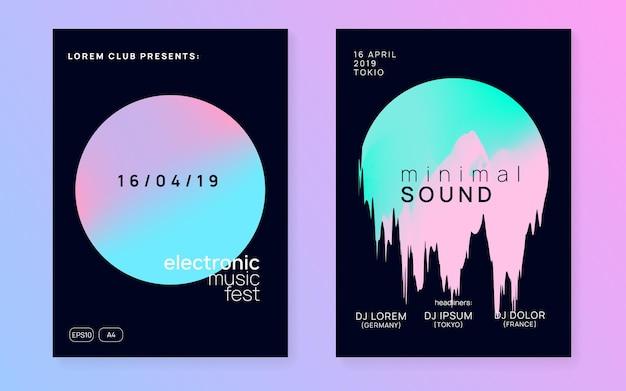 Musik-poster-set. elektronischer klang. nachttanz-lifestyle-urlaub. trendiges disco-konzertmagazin-design. flüssige holografische verlaufsform und -linie. sommerfest-flyer und musikplakat.