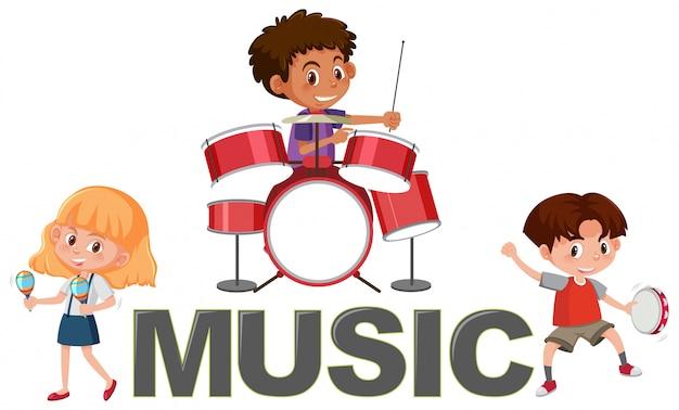 Musik-schriftart und kindercharakter