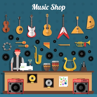 Musik-shop-illustration