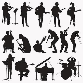Musik spielt silhouetten
