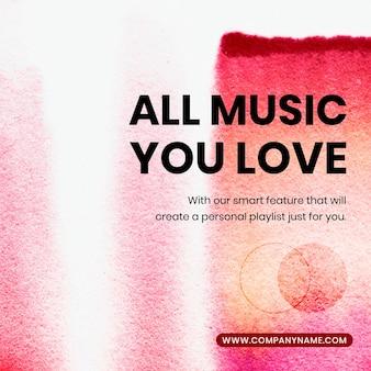 Musik-streaming bunter vorlagenvektor in der social-media-anzeige für chromatographiekunst