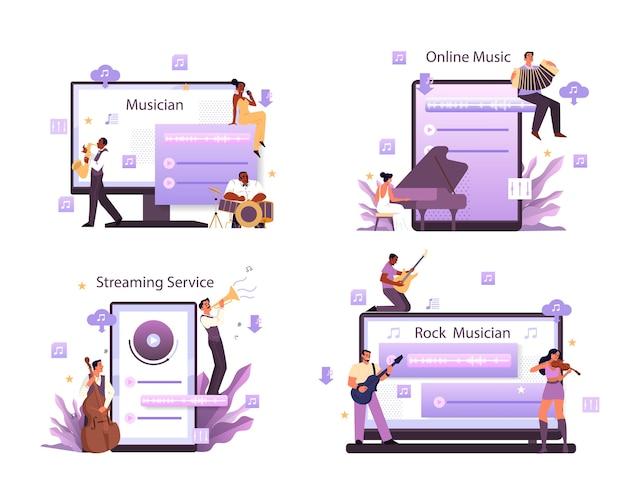 Musik-streaming-service und plattform-set. moderner rock pop oder klassischer performer, musiker oder komponist. musik online von verschiedenen geräten streamen.