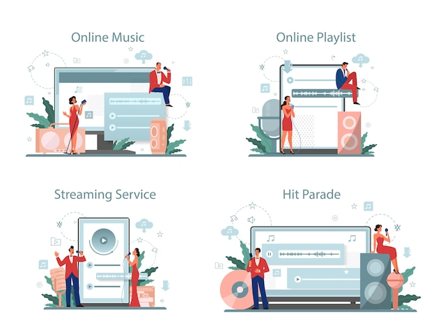 Musik-streaming-service und plattform-set. musik online streamen