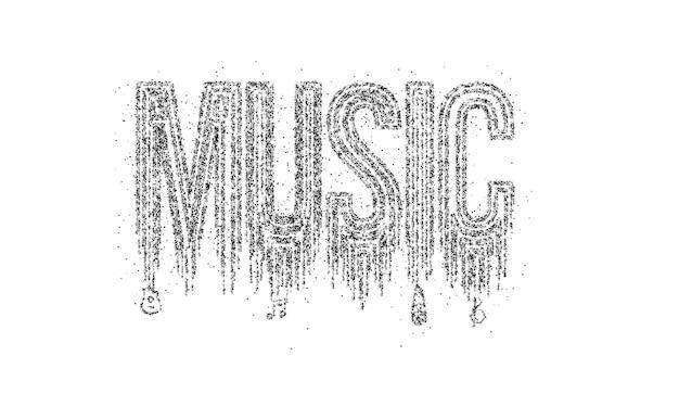 Musik-typografie-partikel-design-ikone, vektorillustration